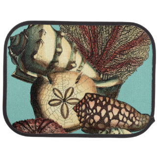 Turquoise Shell and Red Coral Collection Car Mat