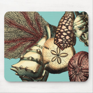 Turquoise Shell and Red Coral Collection Mouse Mat
