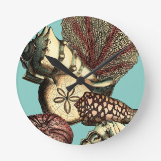 Turquoise Shell and Red Coral Collection Round Clock