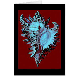 Turquoise Shell on Deep Red Greeting Card