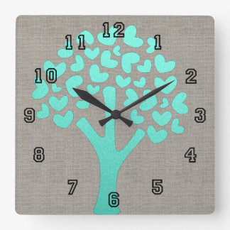 Turquoise Shimmer Tree of Hearts Beige Linen Look Clock