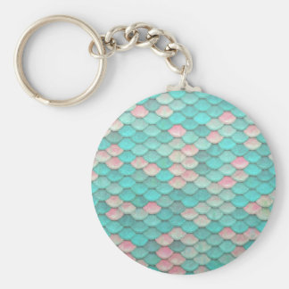 Turquoise Shiny Fish Scales Effect Pattern Key Ring