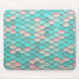Turquoise Shiny Fish Scales Effect Pattern Mouse Mat