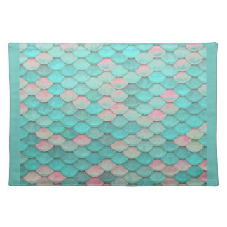 Turquoise Shiny Fish Scales Effect Pattern Placemat