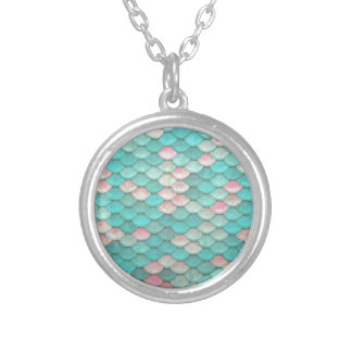 Turquoise Shiny Fish Scales Effect Pattern Silver Plated Necklace