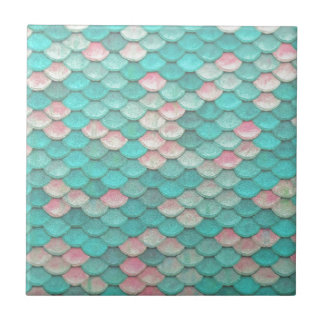 Turquoise Shiny Fish Scales Effect Pattern Tile