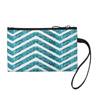 Turquoise Shiny Glittery Look Chevron Bling Coin Wallet