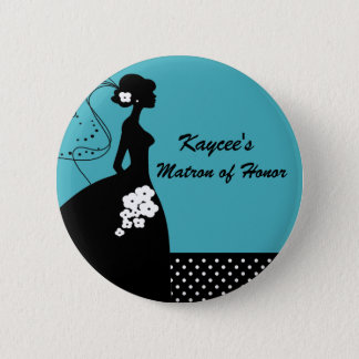 Turquoise Silhouette Bride Matron of Honor Button