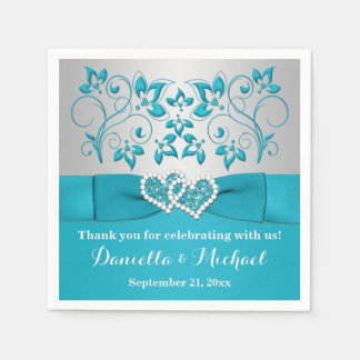 Turquoise, Silver Floral, Hearts Paper Napkins Paper Napkin
