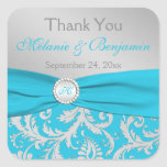 Turquoise, Silver Monogram Wedding Favour Sticker