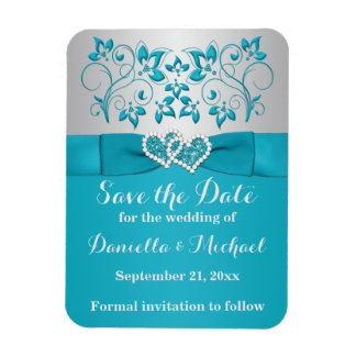 Turquoise, Silver Save the Date Flex Magnet
