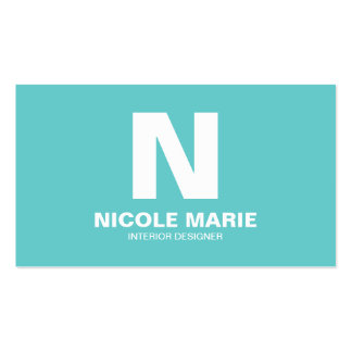 Turquoise Simple Monogram Business Card