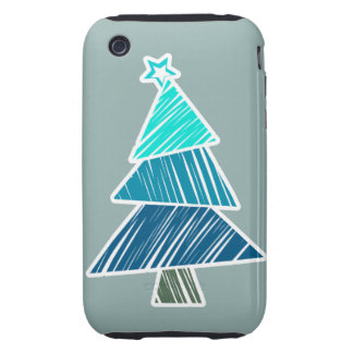 Turquoise Sketchy Christmas Tree 3G/3GS Case-Mate iPhone 3 Tough Cover