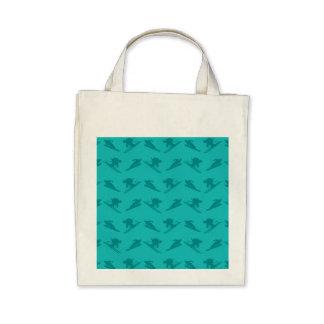 Turquoise ski pattern bags
