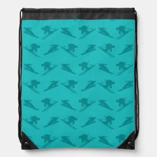 Turquoise ski pattern drawstring backpacks
