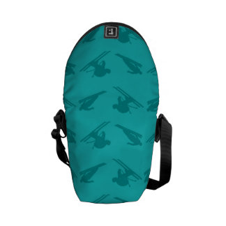 Turquoise ski pattern courier bag