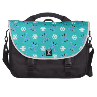 turquoise skis and snowflakes pattern laptop messenger bag