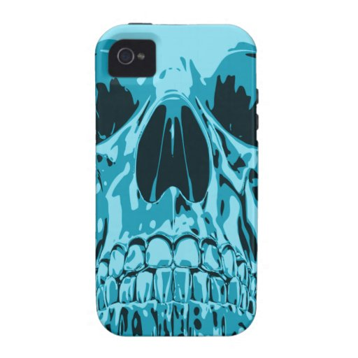 Turquoise - Skull iPhone 4 Cover