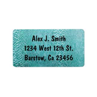Turquoise Snake Skin Stylish Classy Elegant Address Label
