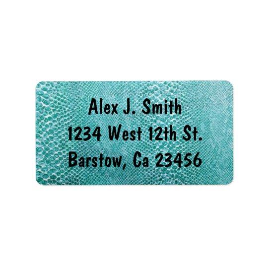 Turquoise Snake Skin Stylish Classy Elegant Label