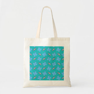 turquoise snowboard pattern budget tote bag