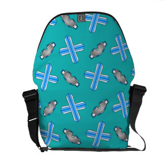 turquoise snowboard pattern courier bags