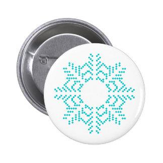 Turquoise Snowflake 6 Cm Round Badge