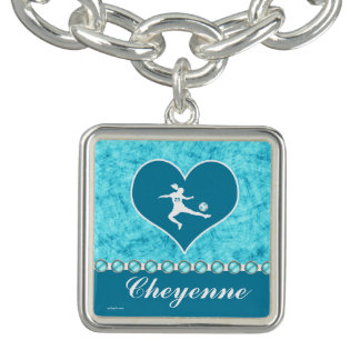 Turquoise Soccer Girl with Name and Number