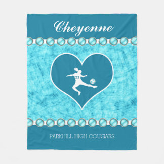 Turquoise Soccer Girl with Name and Number Fleece Blanket