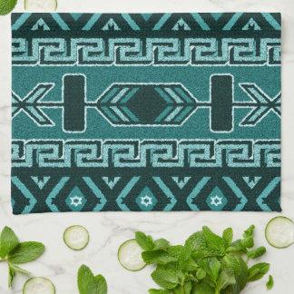 Turquoise Southwest Aztec Pattern Tea Towel