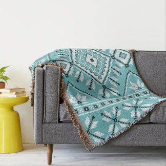 Turquoise Southwest Aztec Tribal Geometric Pattern Throw Blanket