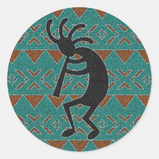 Turquoise  Southwest Kokopelli Round Sticker