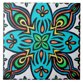 Turquoise Spanish Design Ceramic Photo Tile