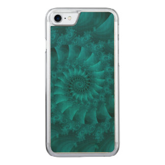 Turquoise Spiral Fractal iPhone 6 Slim Wood Carved iPhone 8/7 Case