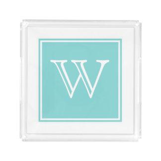 Turquoise Square Monogram Vanity Tray