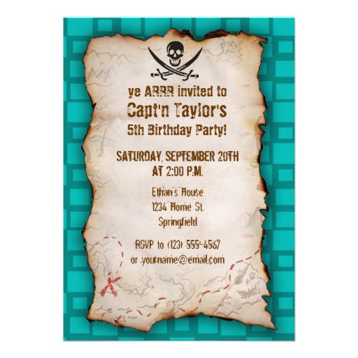Turquoise Squares Jolly Roger Personalized Announcement