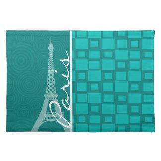 Turquoise Squares; Paris Placemat