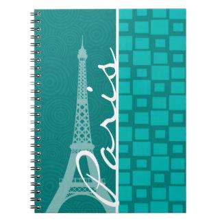 Turquoise Squares; Paris Spiral Notebook