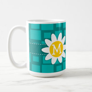 Turquoise Squares; Retro Square; Daisy Basic White Mug