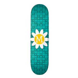 Turquoise Squares; Retro Square; Daisy Skate Deck