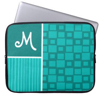 Turquoise Squares; Retro Square Laptop Sleeves