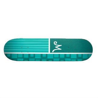 Turquoise Squares; Retro Square Custom Skate Board
