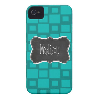 Turquoise Squares; Vintage Chalkboard iPhone 4 Case-Mate Cases