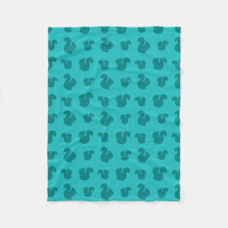 Turquoise squirrel pattern fleece blanket