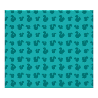 Turquoise squirrel pattern poster