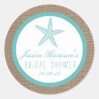 Turquoise Starfish Beach Bridal Shower Stickers
