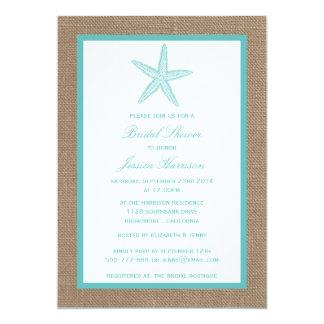 Turquoise Starfish Beach Burlap Bridal Shower 13 Cm X 18 Cm Invitation Card