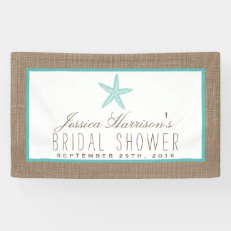 Turquoise Starfish Beach Burlap Bridal Shower Banner