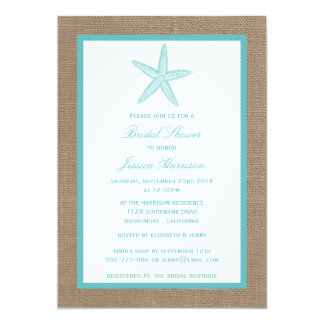 Turquoise Starfish Beach Burlap Bridal Shower Card