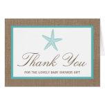 Turquoise Starfish Burlap Beach Baby Shower Note Card